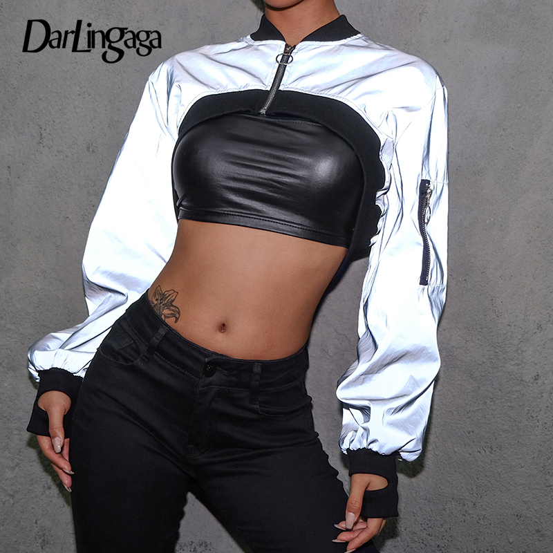Darlingaga Streetwear Reflective cropped   jacket   women zipper patchwork bomber   jacket   coat fashion   basic     jackets   outerwear spring