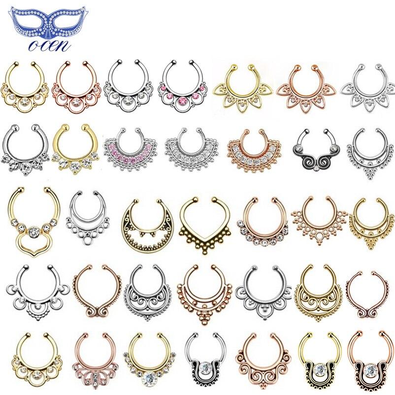 More Than 40 Designs Zircon Fake Nose Ring Hoop Ring Nose Body