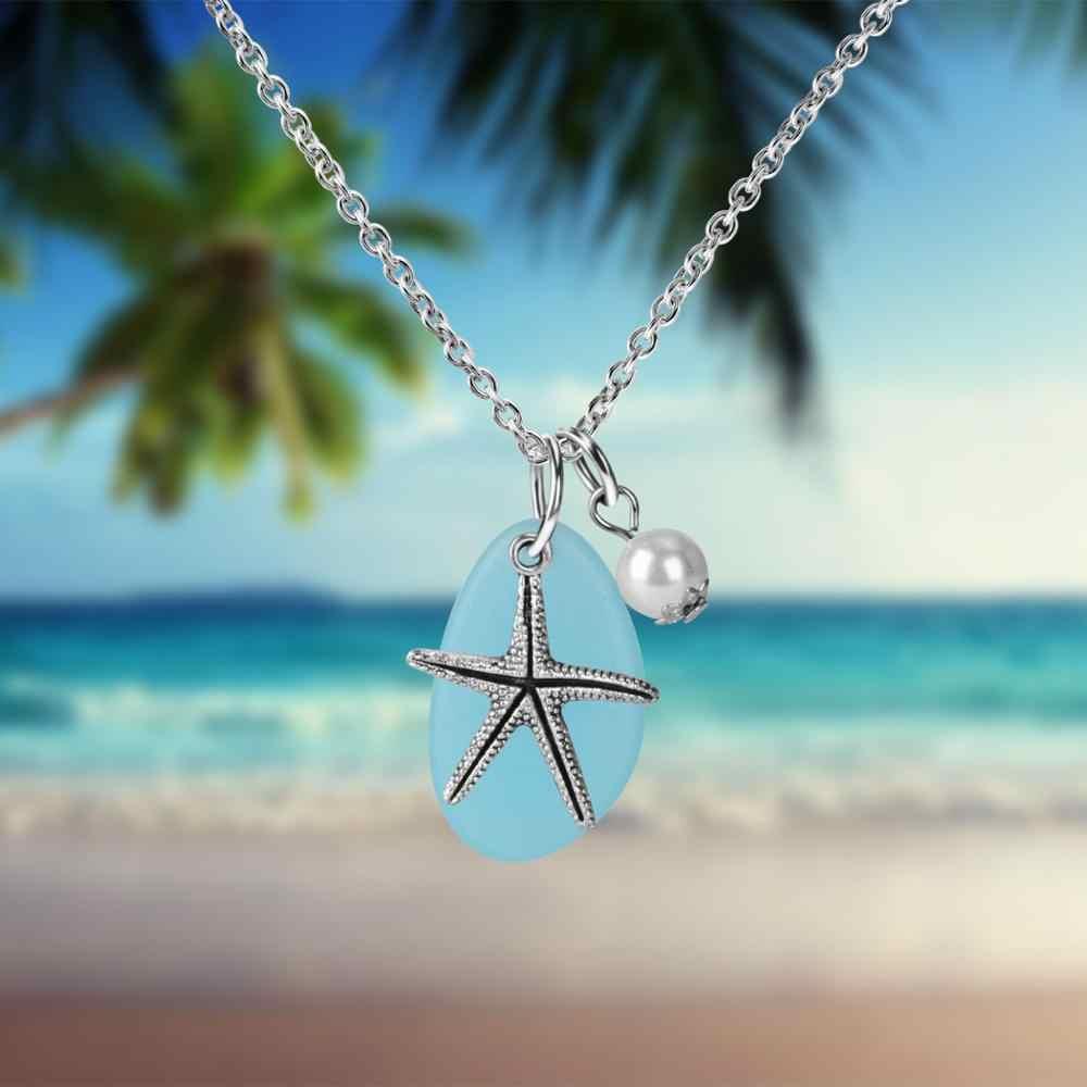 5 סגנון כסף כוכב ים תליון שרשרת חמוד בעלי החיים ארוך שרשרת שרף שרשרת Boho חוף זוג שרשרת