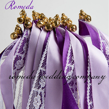 Hot Sell  Purple +Light ribbon + White Lace With Cap Bell Wedding Ribbon Sticker(200Pieces/Lot) Event Party Supplies