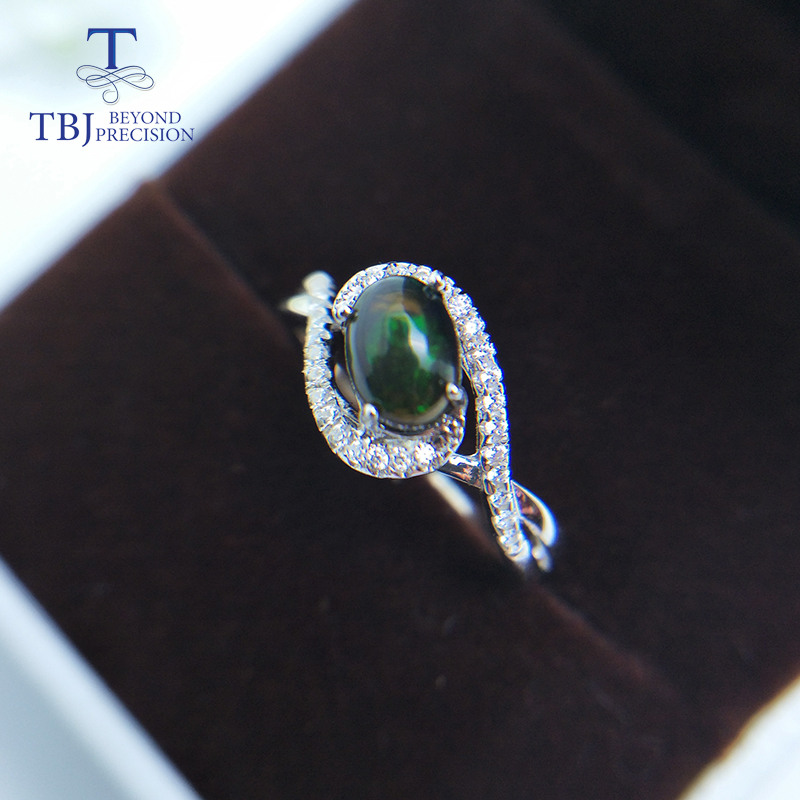 TBJ,Natural Ethiopian  Black Opal Ring 925 Sterling Silver Fine Jewelry For Women Best Gift For Wife Mom Girlfriend
