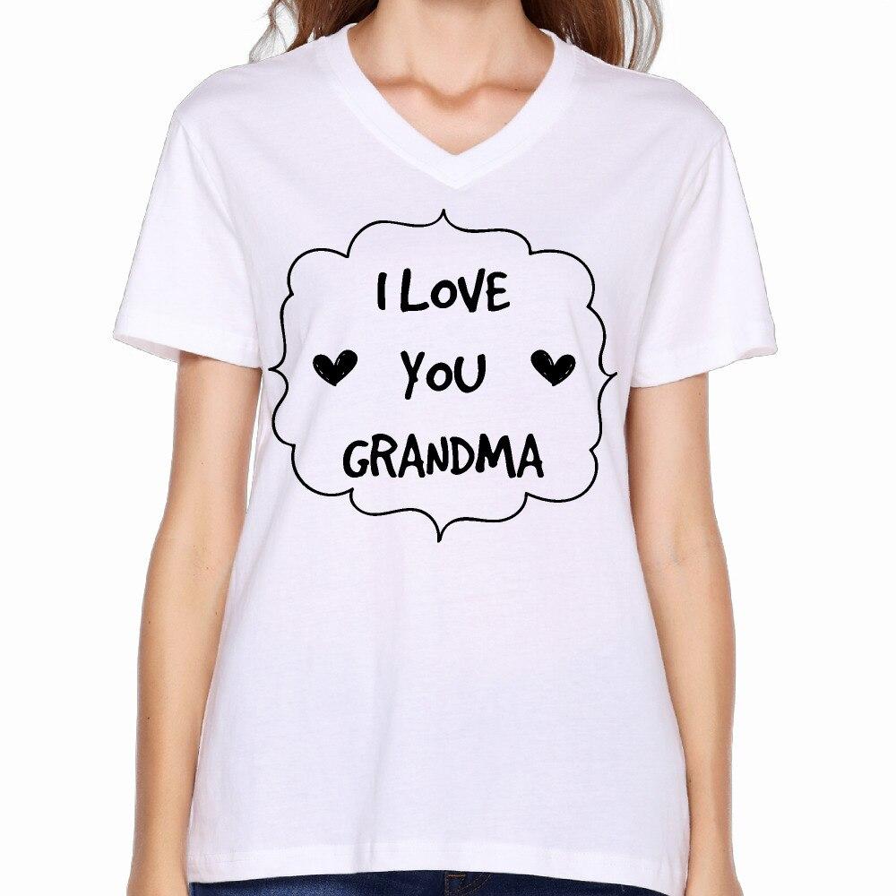 Design shirt v neck - 2017 Red Rose I Love You Grandma Coffee Mug Printing Women V Neck T Shirt Christmas Style Design Summer Hip Hop
