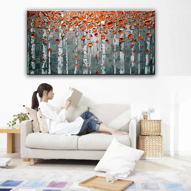 100 hand painted oil painting Home decoration high quality landscape font b knife b font painting