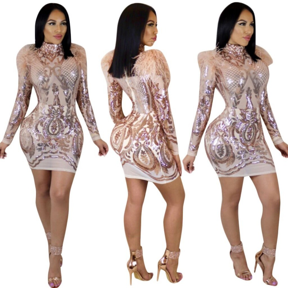 CFYH 2018 Sexy Sequined Dress New Arrival Autumn Winter Women Long Sleeve Bodycon Vestidos Ladies Swan hair Club Dresses
