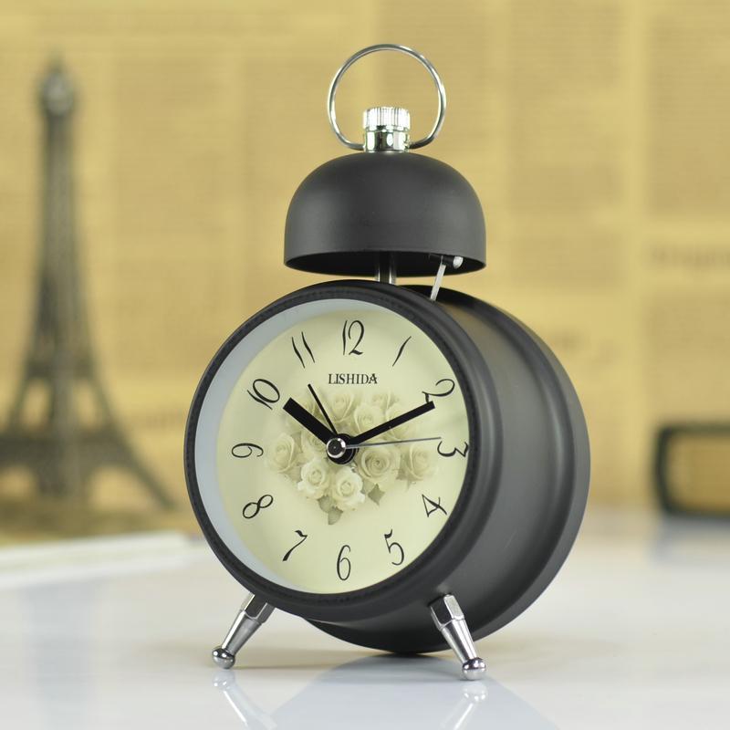 Vintage Mute Needle Alarm Clock European Fashion Creative Dual Bell Quartz Clock For Children Metal Desk Desktop Table Clock