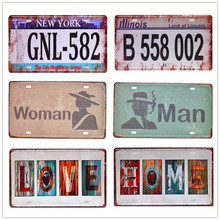 New Car Number Vintage Metal Signs Motorcycle License Plates Art Poster Painting Garage Home Wall Decor Plaque Gift 15*30cm N170