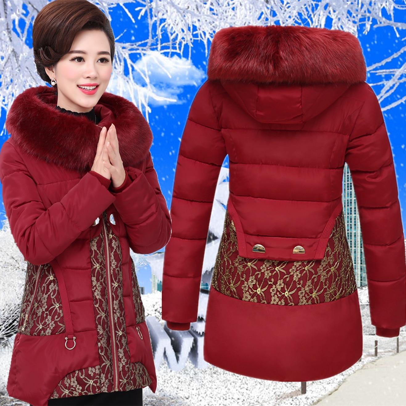 2019 di mezza età e anziani delle donne del cotone di inverno madre caricato spessa verso il basso giacca di cotone cappotto di lana cappotto di grandi dimensioni-in Parka da Abbigliamento da donna su  Gruppo 1