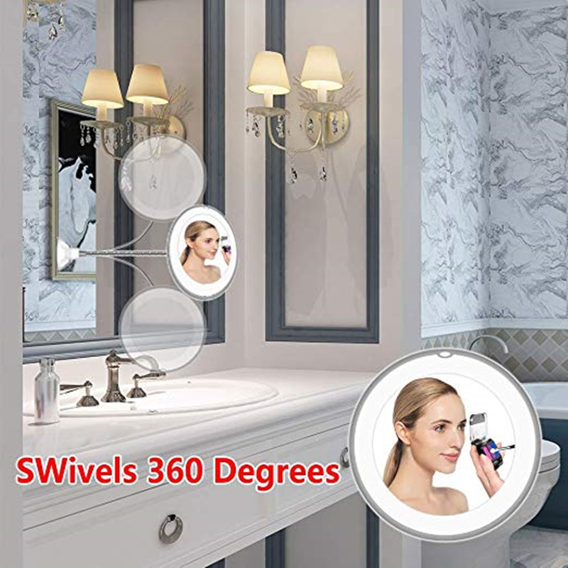 360 Degree Rotation 10X Magnifying Makeup Mirror My Flexible Mirror Folding Vanity Mirror with LED Light Makeup Tools Dropship 5