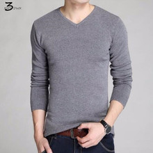 2017 fashion male quality slim high-grade pure cotton Set head knitted sweater/Male fashion leisure v-neck knit shirt