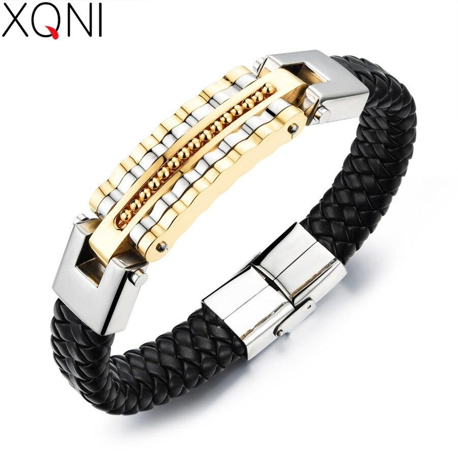 XQNI Black Leather Bracelet Men Charm Bangle Stainless Steel Fashion New Men Jewelry Rock Chunky Leather Men's Bracelets