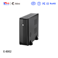 Realan 8002 Personal computer case desktop ITX Mini PC HTPC With 120W DC Board and 12V 5A AC Adaptor