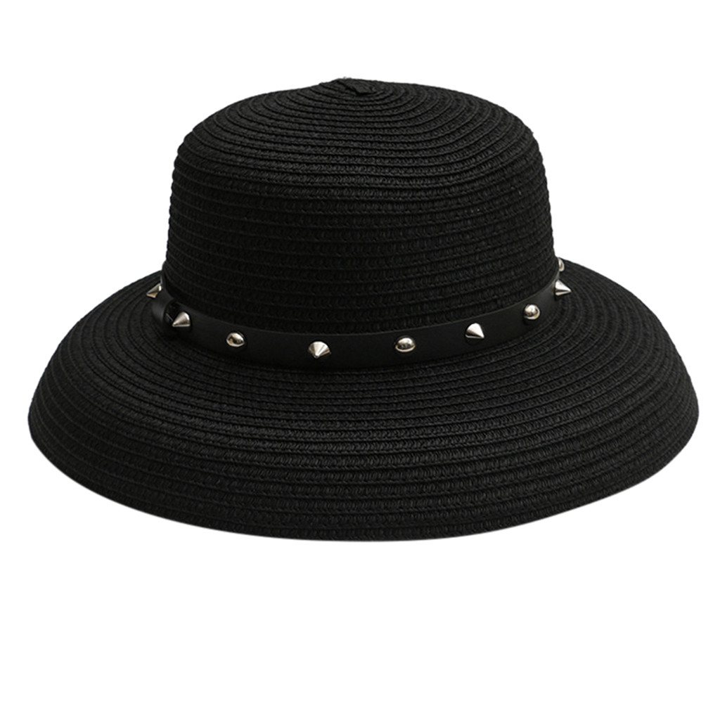 Women Hat Beach Hat Panama Ladies Cap Fashionable Casual Flat Wide Brim Summer 2019 Gothic Fashion Sun Hats For Women