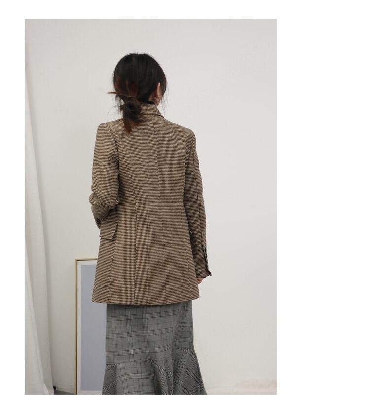 LKGHULO Vintage Anzug Jacke Elegante Formale Casual Mantel frauen Plaid Blazer Geometrische W274 - 4