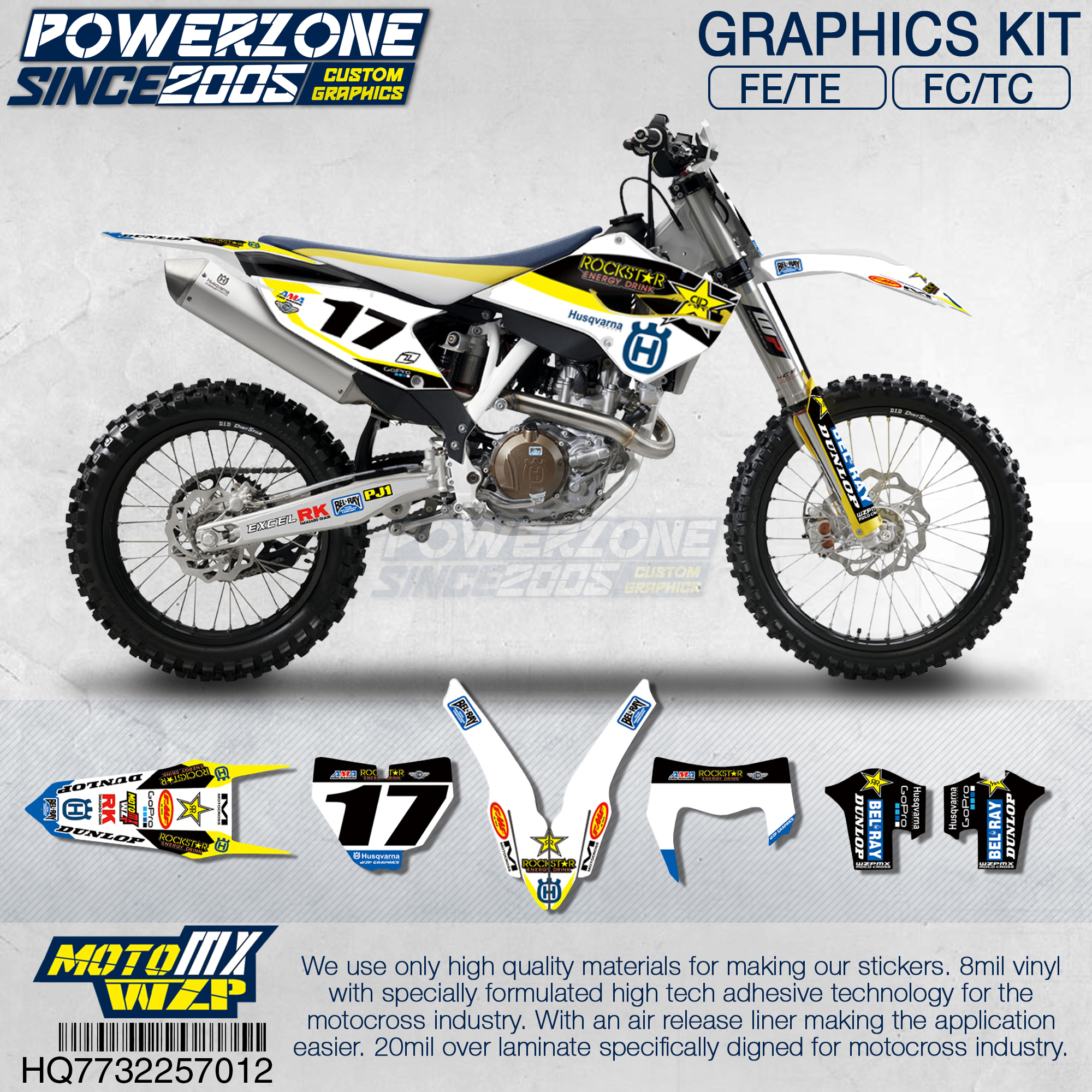 PowerZone Customized Team Graphics Backgrounds Decals 3M Custom Stickers For Husqvarna 2014 To 2019 FE TE FC TC 250 To 500cc 12