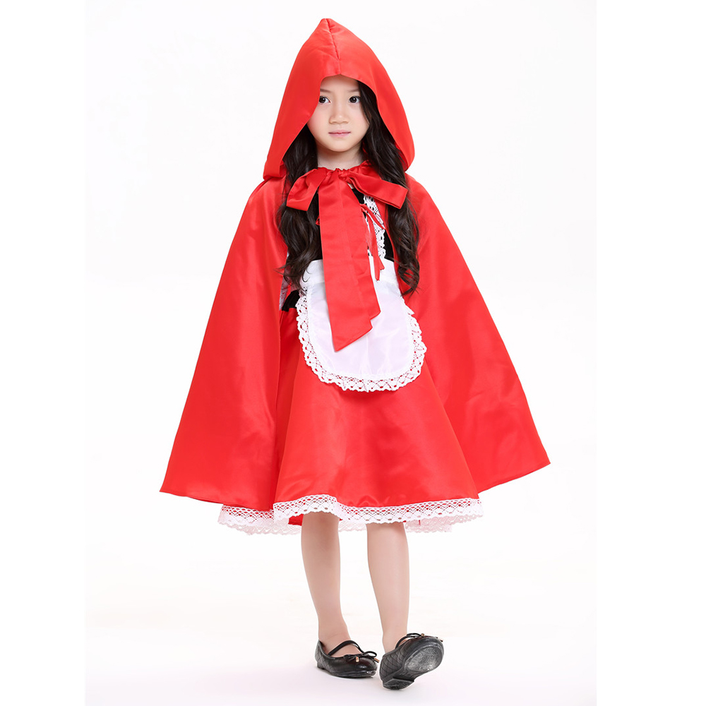 2018 New high quality Little Red Riding Hood cosplay costume princess halloween fancy dress clothing for Kids girl whole set
