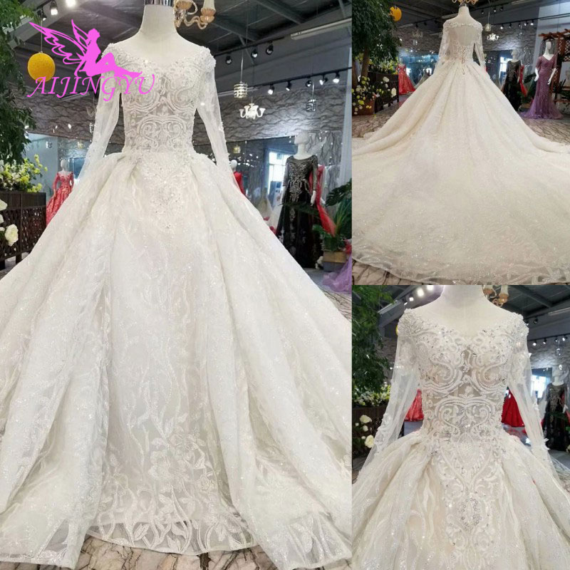 AIJINGYU Bride Dressing Gown Import Dresses Brides White Bridals Arab Long Marriage Elegant Gowns For Wedding Real Picture
