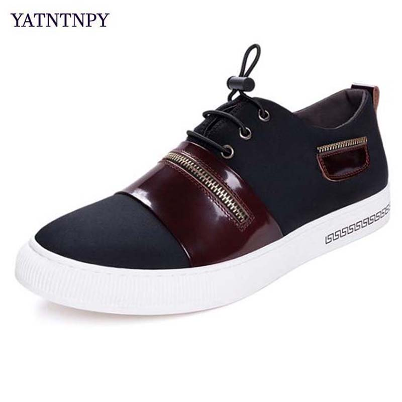 YATNTNPY Brand Men Shoes High Quality Wearable Sneakers Breathable Lycra Casual Leather Shoes Plus Big Size 38-48 Man Shoes