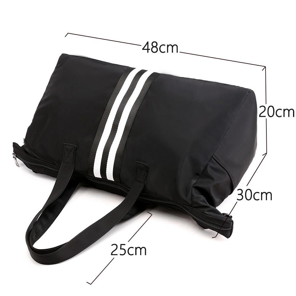 New stripe women 39 s bags over shoulder Lady 39 s travel bag Nylon cloth gym bag sac a main reusable shopping bags eco Bowling bags in Top Handle Bags from Luggage amp Bags