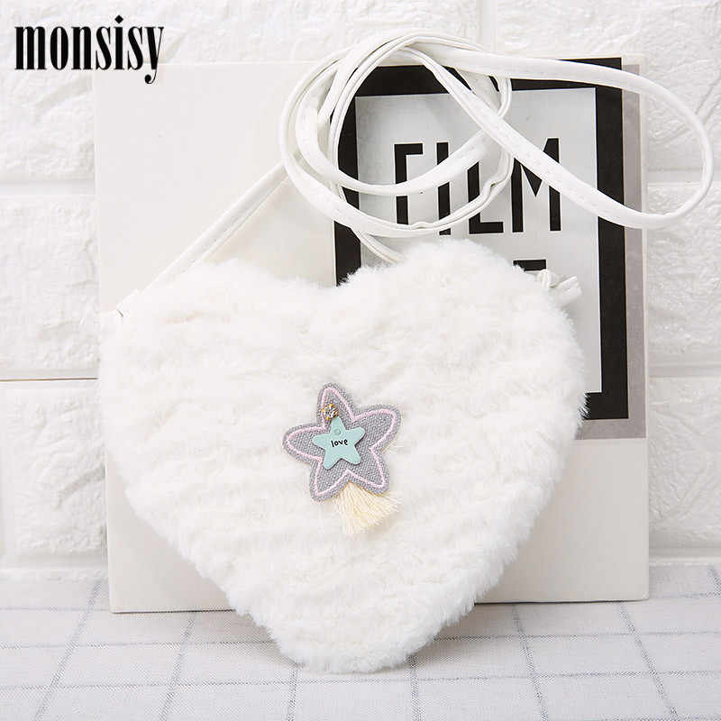 129b5418f5 ... Monsiy Faux Fur Heart Bag Girl Handbag Children Wallet Kid Shoulder Bag  Kawaii Winter Heart Star ...