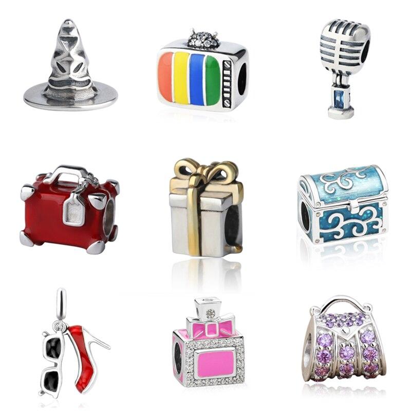 D'origine 925 charmes d'argent chapeau valise TV parfum bouteille microphone perles fit authentique pandora bracelet fabrication de bijoux cadeaux