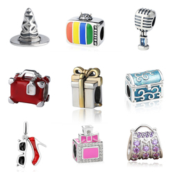 Original 925 silver charms hat suitcase TV perfume bottle microphone beads fit authentic pandora bracelet jewelry making gifts
