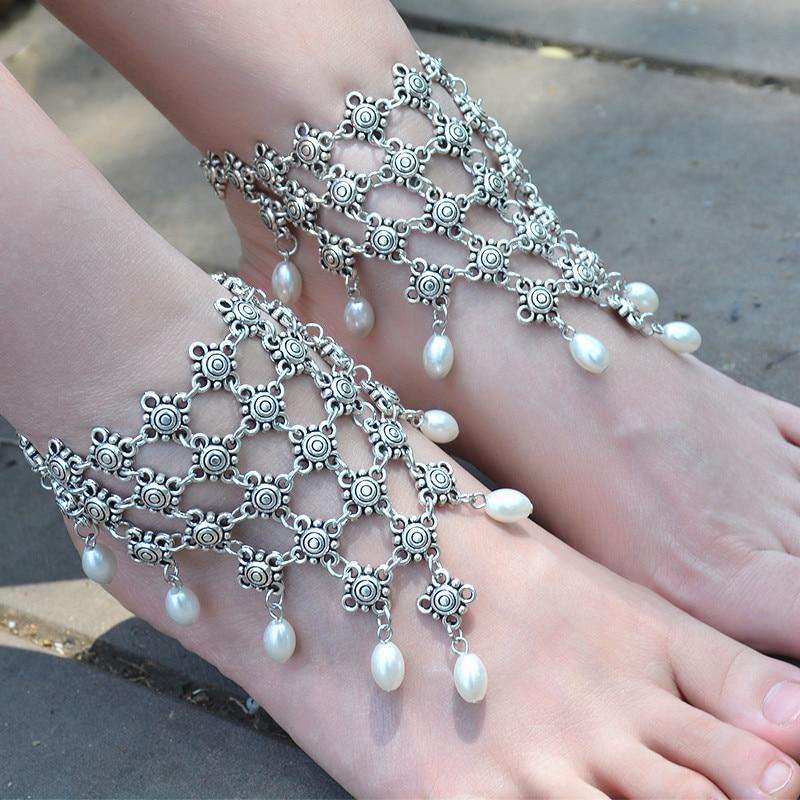 1 pcs New Boho Vintage Antique Anklet for Women Imitation Pearl Pendant Foot Barefoot Sandal Multilayer Anklet Beach Wedding