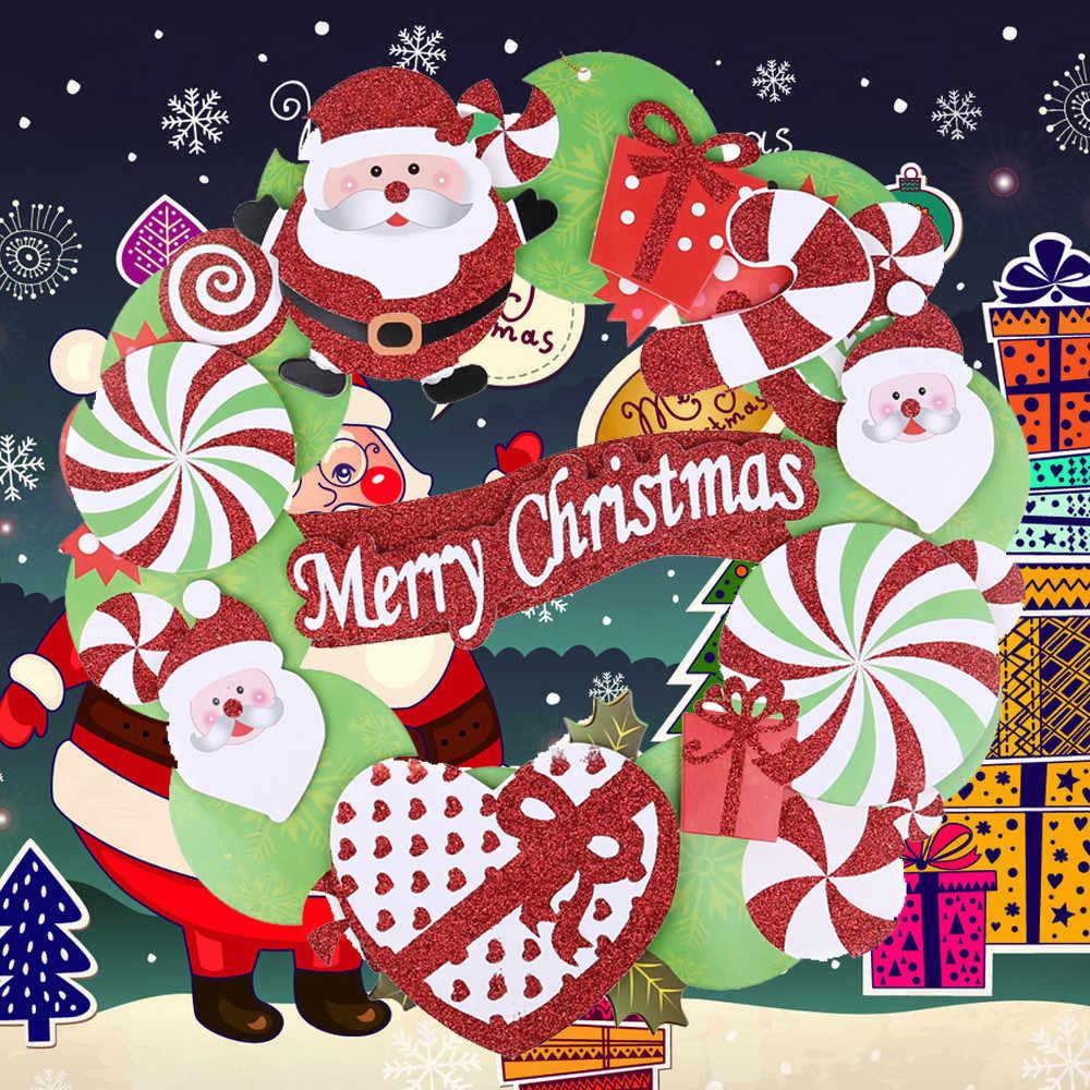 1 предмет 35 см рождественских каникул Бумага венок на дверь украшение гирлянды подарок дверные замки для искусственный цветы c30