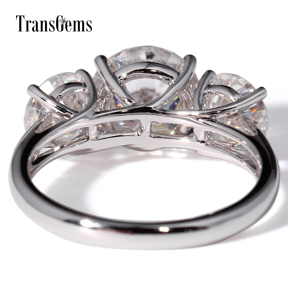 TransGems 3 CTW Stunning F Colorless Moissanite Lab Diamond Wedding Engagement Anniversary Ring 14K White Gold for Women