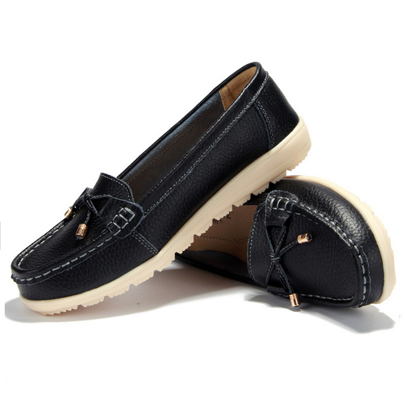 fca93c4c3ba 2016 hot sale genuine leather women flats shoes female casual flat women  loafers shoes slips leather black flat women s shoes
