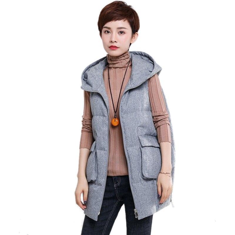 4a5c6efba66f9 Taille Long Hiver Manteau 2018 Femme Mode Gilet Manches Manteaux Veste Sans Chaud  Femmes À Nouveau Gris Épais Gray Plus Capuche ...