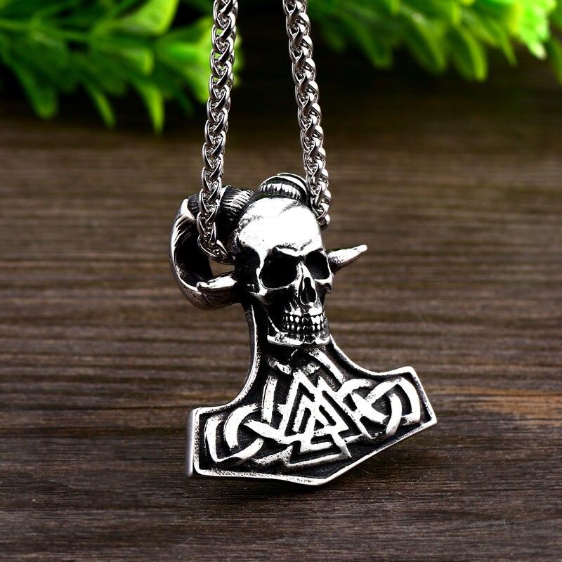 Collier Acier crâne soldat viking 5