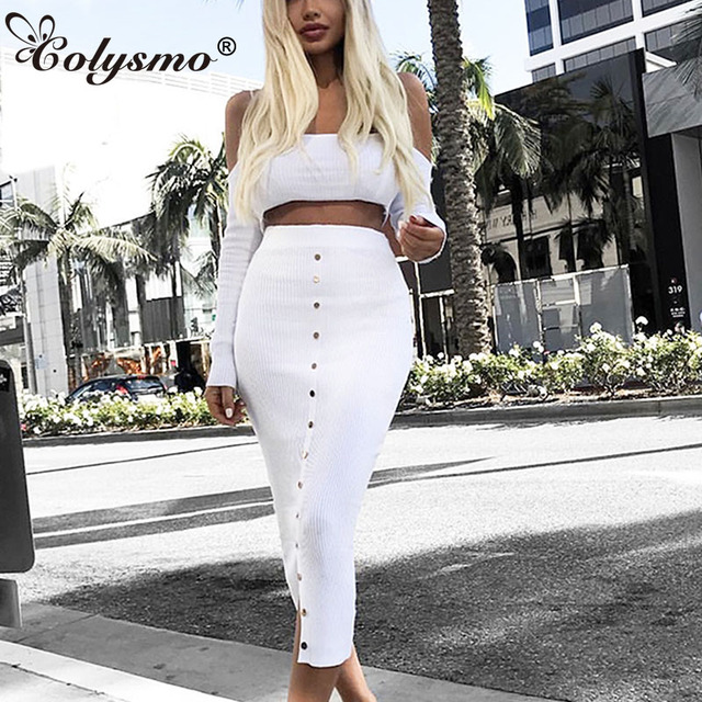 bf47d4d270 Colysmo Ribbed Crop Top And Skirt Set Winter Two Piece Set 2 piece Set Women  Conjunto Feminino Two Piece Outfits Matching Sets