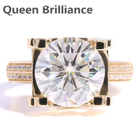 TRANSGEMS 5 Carat CT EF Colorless Clear Lab Grown Moissanite Wedding Ring With Real Diamond Accents