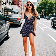 BerryGo Dot v neck strap mini dress women Backless ruffle summer dress party 2018 Spring clothes vestidos navy blue dress female