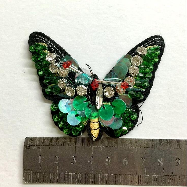 Butterfly sequins rhinestones bead brooch patches sew on beading applique DIY ES