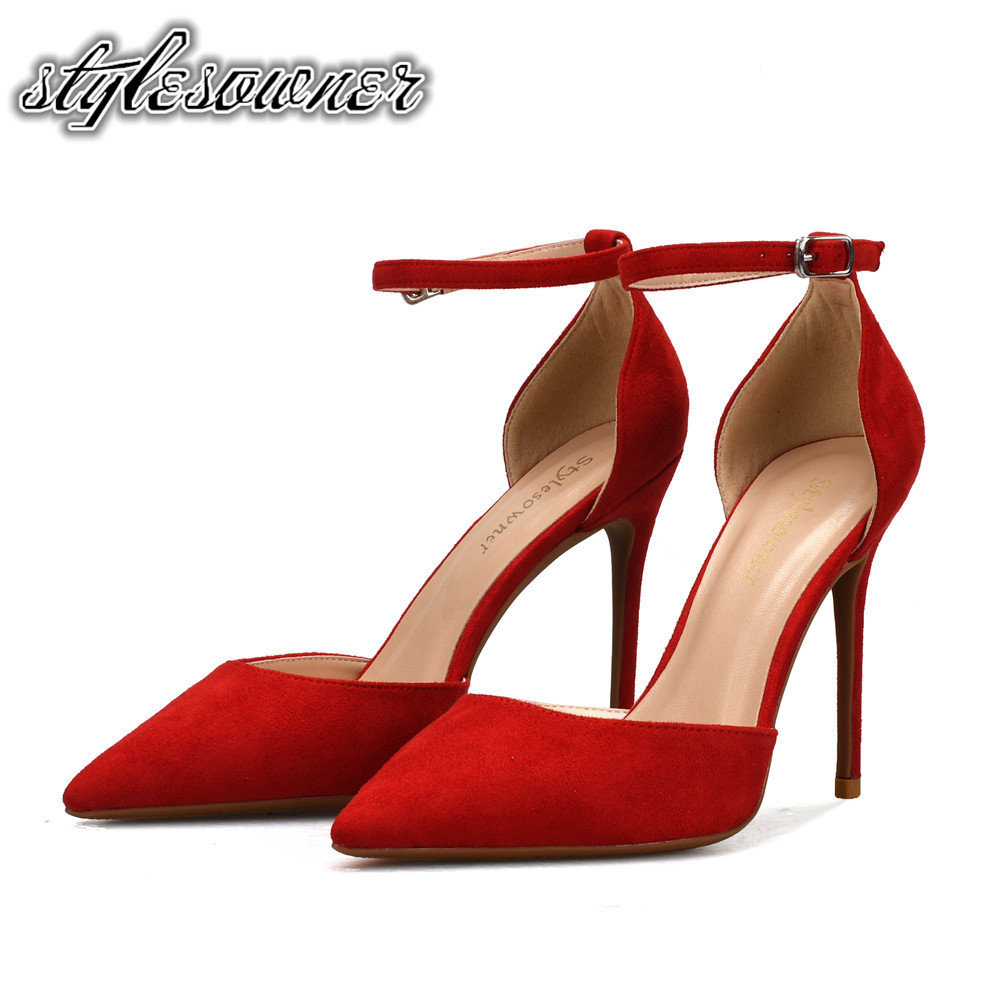 Stylesowner New Style Autumn Winter Sexy Woman Party Single Shoes Flock Red Color Thin Heels Shallow Pumps High Heels Lady Shoes hot sale new fashion luxury real leather women thick heel pumps flock mix color wedding shoes woman flock sexy elegant pumps