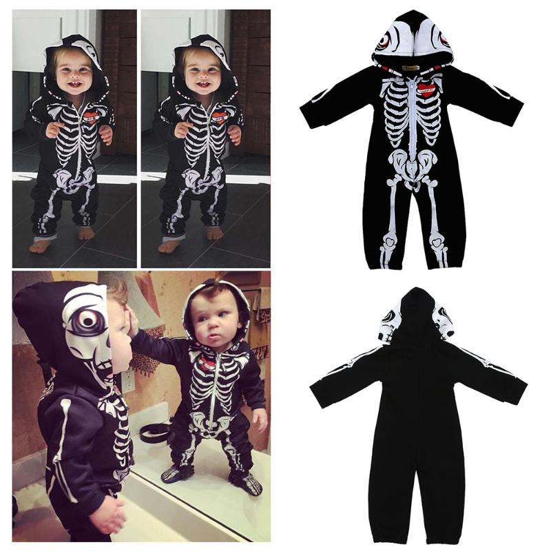 Baby Skull Printed Long Sleeve Zipper Romper Clothing Newborn Toddler One Piece Climbing Jumpsuit Clothes Kids Winter Outfits autumn winter baby clothes toddler boys girls rompers one piece letter printed long sleeve jumpsuit kids baby outfits clothing