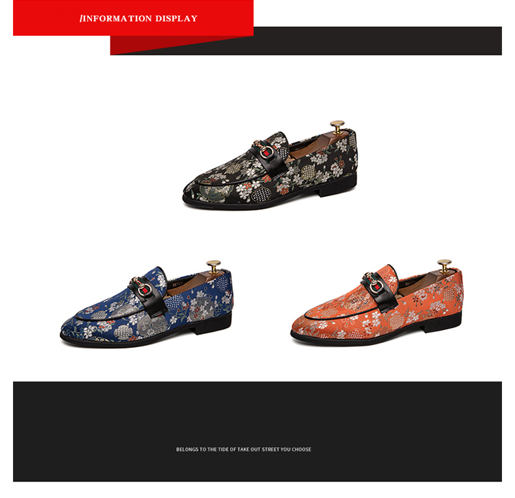 2019 New Brand Formal Shoes Men Leather Shoes Flower Embroidery Slip On Lazy Driving Shoe Office Loafers Mens Canvas Shoes 15
