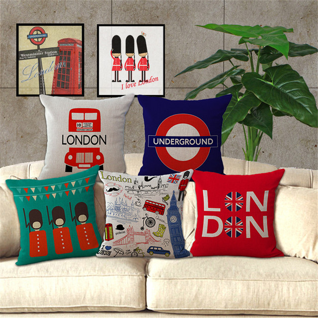 London style Decorative throw pillow case British soilder and building sofa square cushion cover for chair capa de almofadas