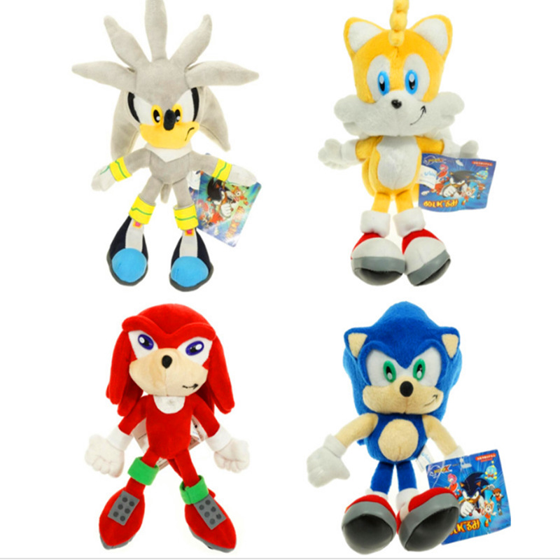 4pcs/lot 23cm Sonic Plush Toys Sonic the Hedgehog Sonic Tails Knuckles the Echidna Plush Doll Soft Stuffed Toys for Kids Gifts