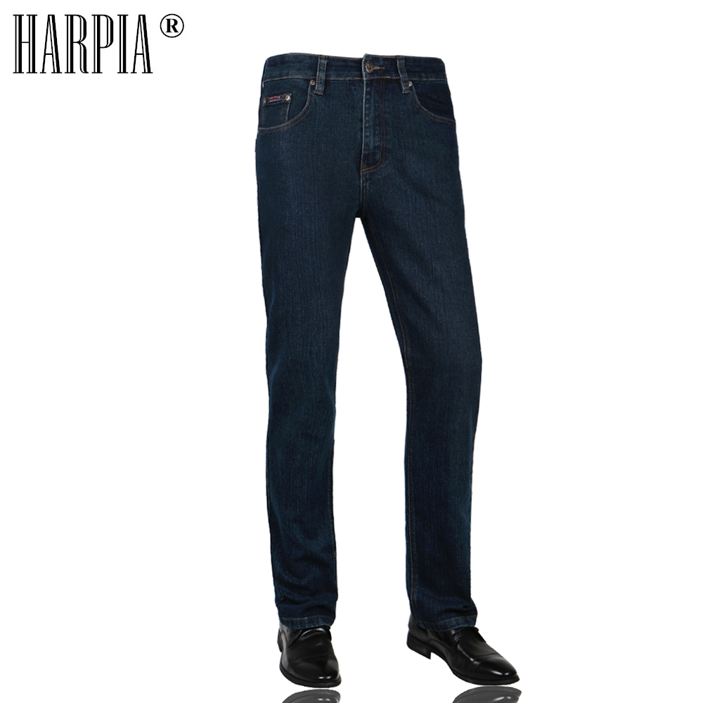 Harpia Hombre Slim Mediados De Cintura Jeans Casual Azul Oscuro Hombre Denim Pantalones Rectos Plus Tamano 31 44 Pantalones Vaqueros Aliexpress