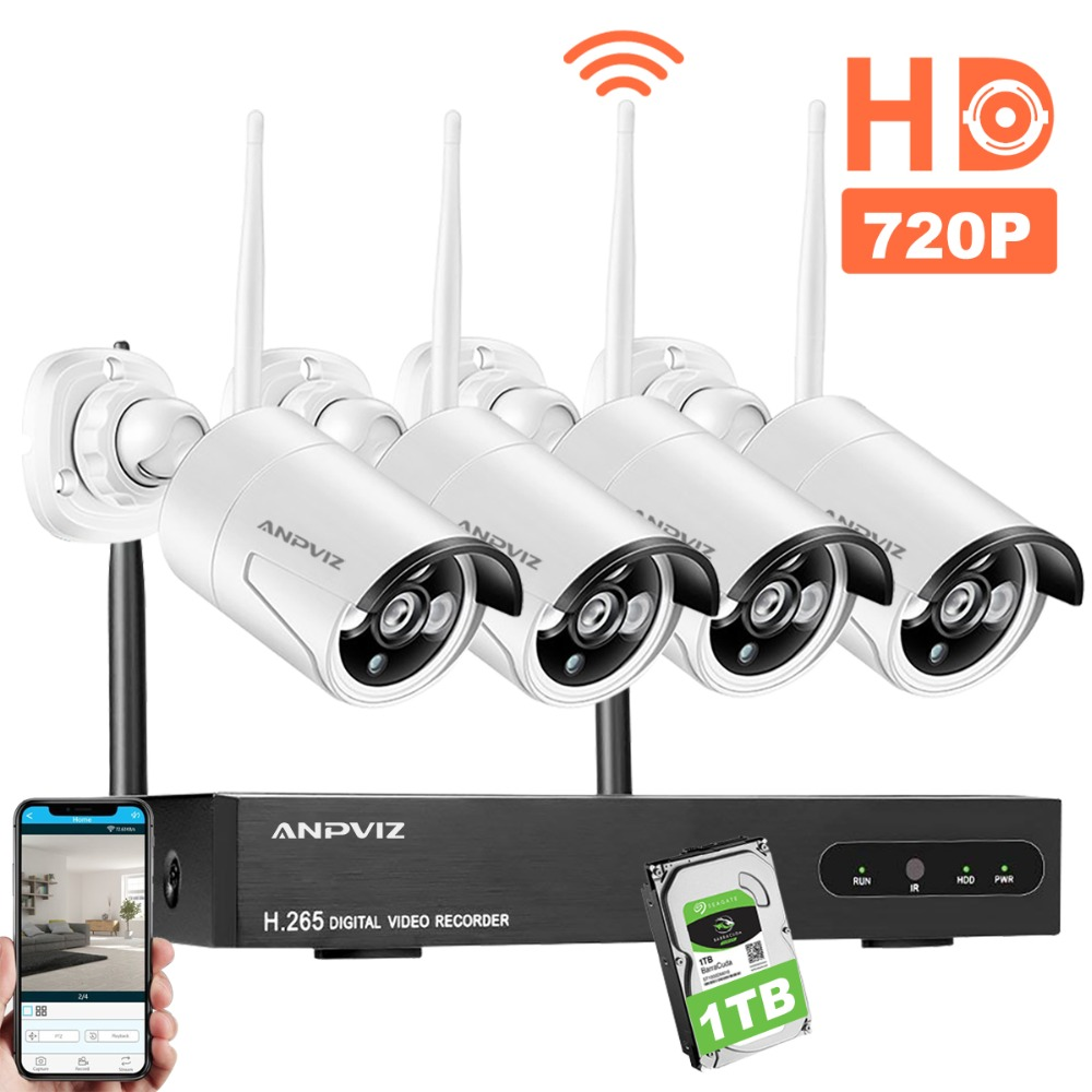 Anpviz 1080P HD NVR Wireless Security CCTV Surveillance Systems 4CH WiFi NVR Kit Outdoor 2.0MP WiFi Bullet IP Camera 1TB HDDAnpviz 1080P HD NVR Wireless Security CCTV Surveillance Systems 4CH WiFi NVR Kit Outdoor 2.0MP WiFi Bullet IP Camera 1TB HDD