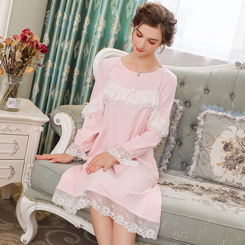 Odell Cotton Chest Twining Lace Court Princess Long   Nightgowns     Sleepshirts   Women's Sleepwear Autumn Nightdress Home Dress 259#