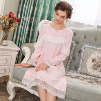 Pink Spring Women's Nightdress Home Dress Cotton Sleepwear Chest Lace Court Princess Long Nightgowns Sleepshirts 259#