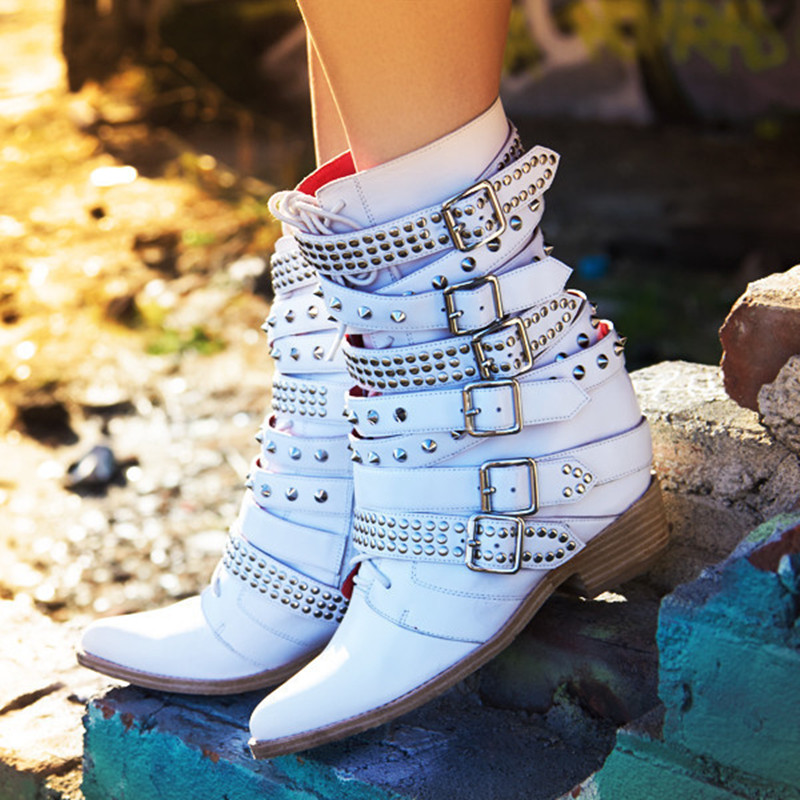 Choudory 2017 botas mujer genuine leather white buckle strap studded cowboy boots pointed toe motorcycle ankle boots shoes woman go to bed blue
