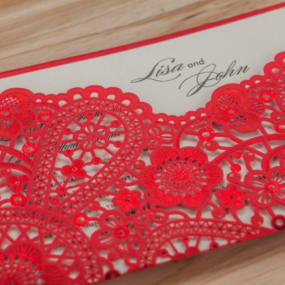 Pocket Fold Red Laser Cut Wedding Invitation Card Hollow Flora ...