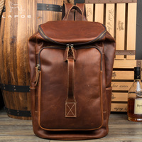 LAPOE genuine leather backpack men Large Capacity Mens Leather Backpack For Travel Casual Men Daypacks travel Male Bagpack