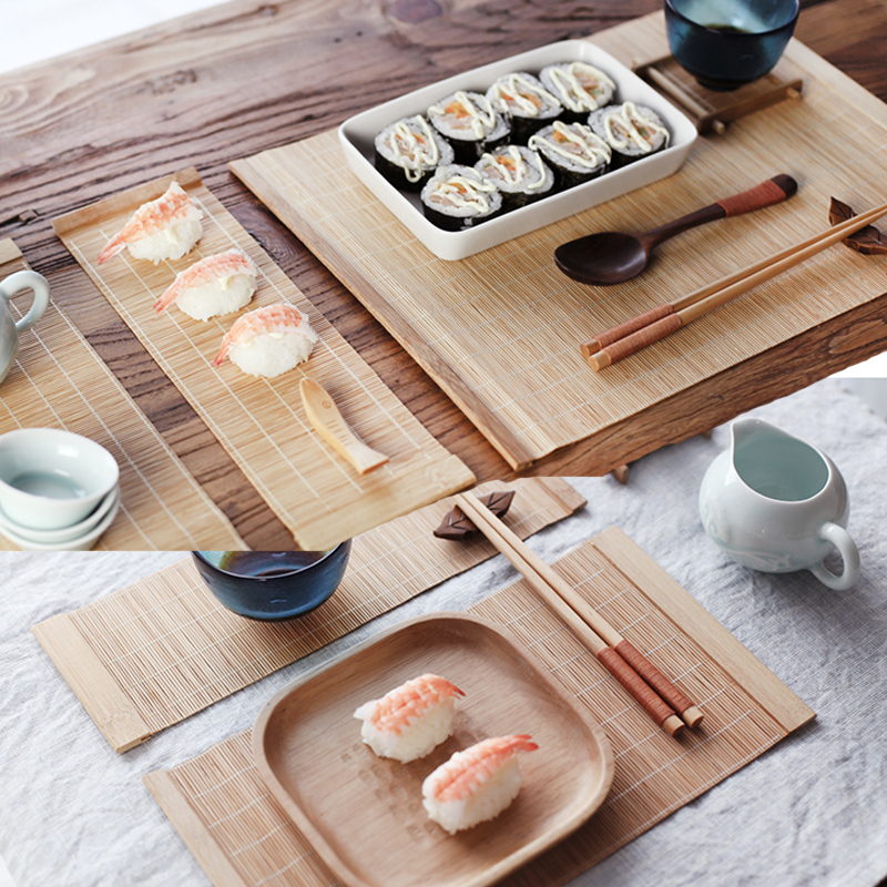 Kitchen Tea Accessories: Bamboo Tea Cup Mat Kitchen Dinning Table Placemats