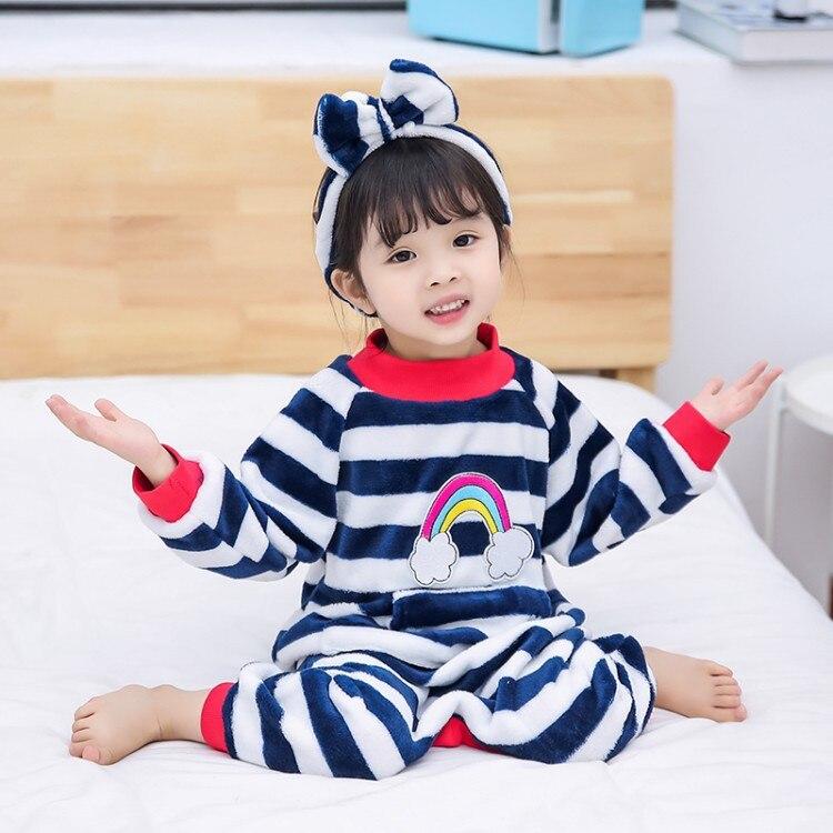 Детские цельные пижамы, детские комбинезоны, одежда года, новые фланелевые пижамы в радужную полоску для мальчиков и девочек, одежда для сна, домашняя одежда - Цвет: Синий