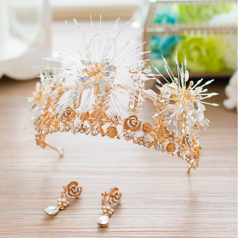 SLBRIDAL Bride Tiaras and Crowns Gold Color Hair Crown Full Cystal Rhinestone Flower Large Queen Crown Wedding Hair Jewelry 00009 red gold bride wedding hair tiaras ancient chinese empress hair piece